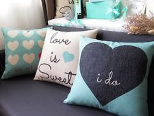 "18""x18"" Love Style Linen Throw Pillow Case Decorative Cushion Cover Gift"