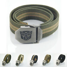 Transformer Stainless Steel Buckle Military Army Mens Womens Webbing Canvas Belt