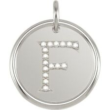 Posh Mommy Jewelry Initial F Roxy Pendant with Diamonds, Silver or 14K Gold