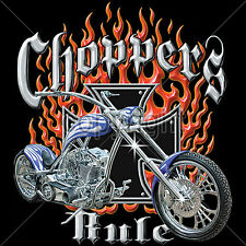 Biker T Shirts Choppers Rule Flames Custom Motorcyle Mens Sm to 6XL Big and Tall