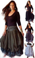 @F726 SKIRT LAYERED LACE RUCHING TIES LADIES FASHION MADE TO ORDER LOTUSTRADERS