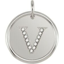 Posh Mommy Jewelry Initial V Roxy Pendant with Diamonds, Silver or 14K Gold