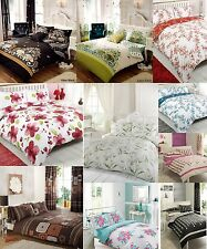 NEW PLAIN MODERN RETRO SINGLE DOUBLE KING PRINTED DUVET HALF SETS RED BLACK PINK