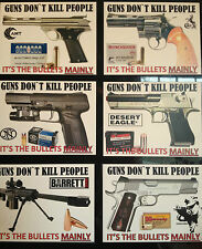 GUN/FIREARMS NOVELTY STICKERS `GUNS DON`T KILL PEOPLE` DESERT EAGLE, FN, + MORE