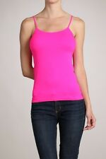 HOT NEON COLORS* SEAMLESS SHORT CAMISOLE TANK TOP SPAGHETTI STRAP TEE CAMICE