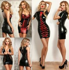 Erotic Gothic Punk Black Wetlook Openback Mini Dress Clubwear gogo dance