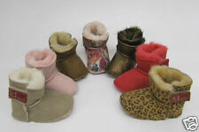 Baby Boys Girls Sheepskin Slippers boots Lia Couture pram shoes pink leopard