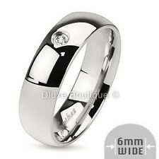 Men's Solid Stainless Steel Simulated Diamond Comfort Fit Wedding Ring Band