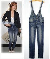 NEW Women Casual Slim Overalls Jumpsuits Jeans Pants Blue Ring#9962