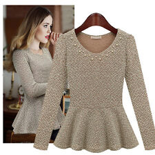 Fashion Womens Lady Slim Waist Skirt Peplum Knit Tops Blouse Career T-shirt S-XL