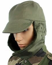 FRANCE FRENCH ARMY COLD WEATHER WINTER FIELD HAT in OLIVE GREEN