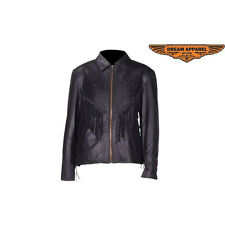 Ladies Black  Leather Jacket with Rose Design & Fringe in Cowhide Leather