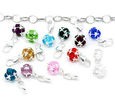NEW Silver Plated Clip On Dangle Birthstone Bead Fits Link Chain Charm Bracelets