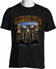 Biker T-Shirts Who Let the Hawgs Out Mens Black Shirts S to 3XLT Big & Tall