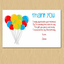 10 Personalised Birthday Thank you cards 18/21/30/40/50/60th/70th/80th/90th/100