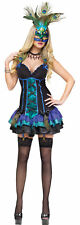 MIDNIGHT PEACOCK MARDI GRAS ADULT WOMEN COSTUME Sexy Dance Theme Party Halloween