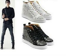 New Men's Celebrity Spike Studded Shoes High-TOP LACE UP RIVET COVER Sneakers