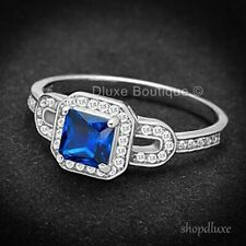 1.25 CT PRINCESS CUT BLUE SAPPHIRE CZ STERLING SILVER WOMEN'S ENGAGEMENT RING