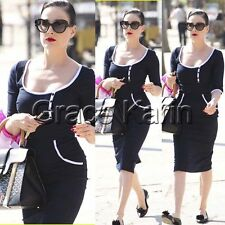 WOMEN Vintage Half Sleeve Bodycon Fitted Crew Neck Pencil Work Party Slim Dress