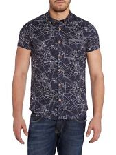 New Duck And Cover Cosmo Deep Navy Short Sleeve Casual Shirt