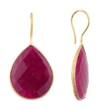 18K Gold Plated Vermeil Earrings Ruby Colored Quartz Pear Drop Earring Pair NEW