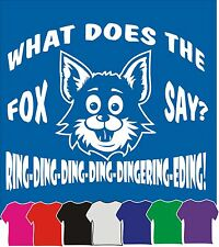 What does The Fox Say? t shirt BIG CUTE FACE ADULT & YOUTH ROYAL FUNNY DING
