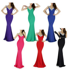 Deep V-Neck SEXY Designer Charming Backless Ball Gown Evening Prom Party Dress