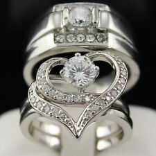 HOT New 3 pcs His & Hers Wedding Engagement Set Rings Stain Steel Heart Shaped 8