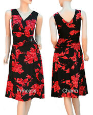 Black Red Floral Print Cocktail Evening Party Dress Size 8 10 12 Mid-Calf Length