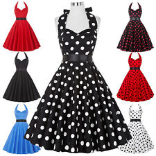 Retro 50s 60s Vintage Polka Dots Swing Party Evening Cocktail Dress Halter Ball