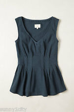 NEW Anthropologie Pleated Peplum V-Neck By Deletta, Sz M or L, flattering style!