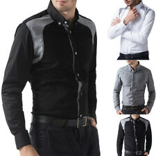 HOT Fashion Collar Casual Mens Stylish Formal Shirts Long Sleeve Line Dress Tops