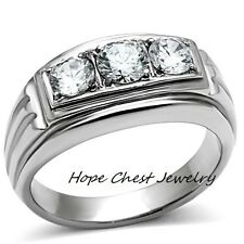 MEN'S STAINLESS STEEL 3 STONE PAST PRESENT FUTURE AAA CZ WEDDING RING SIZE 8-13