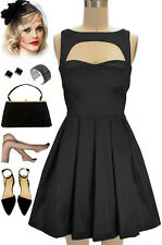 """50s Style BLACK Sleeveless Cut-Out Bodice """"LAST SLOW DANCE"""" Pinup COCKTAIL Dress"""