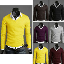 Stylish Mens Premium Slim Fit V-neck Warm Sweater Jumper Tops Cardigan