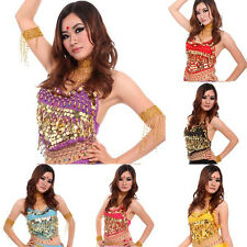 Women Chiffon Bellyband Tops Gloden Coin Belly Dance Adjustable Costume 7 Colors
