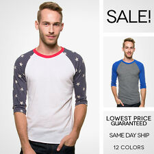 Alternative Apparel Baseball Tee 3/4 Sleeve T-Shirt Printed Colorblock 12 Colors