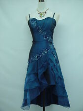 Cherlone Satin Dark Blue Prom Ball Lace Cocktail Party Evening Bridesmaid Dress
