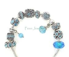 Aqua Blue Turquoise Crystal Large Hole Spacer Bead for European Charm Bracelet
