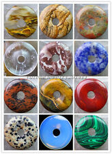 Beautiful 30x5mm Mixed Gemstone Donut Pendant Bead XLZ-114