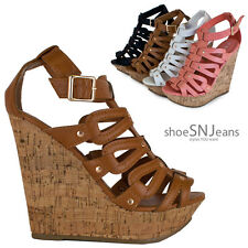 New Women Cut Out Strappy Gladiator Wedge Peep Toe Heel Ankle Platform Sandal