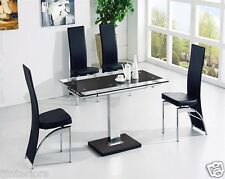 ENZA EXTENDING GLASS CHROME DINING ROOM TABLE & 4 CHAIRS SET-FURNITURE-IJ501-811