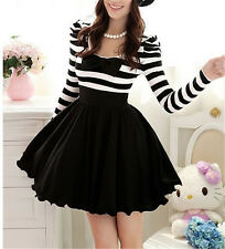 Cute Classical Gothic Punk Lolita Dolly Bow Stripes Spring Dress Skirt -S M L XL