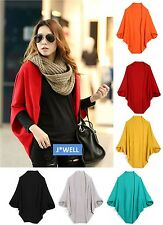 Fashion Women's Loose Batwing Sleeve Knit Sweater Tops Cardigan Shawl Scarf Cape