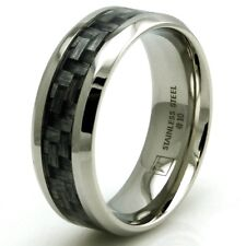 Men's Stainless Steel Jewelry Dark Wood Camouflage Inlay Engravable Wedding Ring