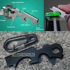 MULTI FUNCTIONAL POCKET TOOL CAMPING HIKING OUTDOOR SURVIVAL EDC KEY CHAIN CLIP