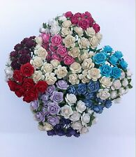 40 MIXED COLOUR MULBERRY PAPER OPEN ROSES/FLOWERS 10mm (1cm) and 15mm (1.5cm)