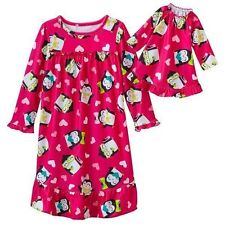 "Jumping Beans 4T Girl & 18"" Doll Nightgown Pajamas Pink Penguin Glasses American"