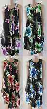 New Rayon Hibiscus Floral Print Half Circle long Summer Dress Boho/Hippie