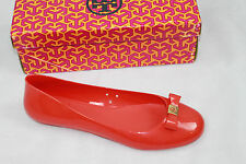 AUTH Tory Burch Women Flame Red Jelly Ballet With Bow Flat Shoes